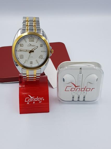 Kit Relógio Condor Unissex Aço Prateado / Dourado + Fone