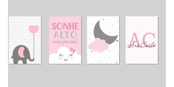 Placas Decorativas Infantil Nuvens Elefante 4 Unidades