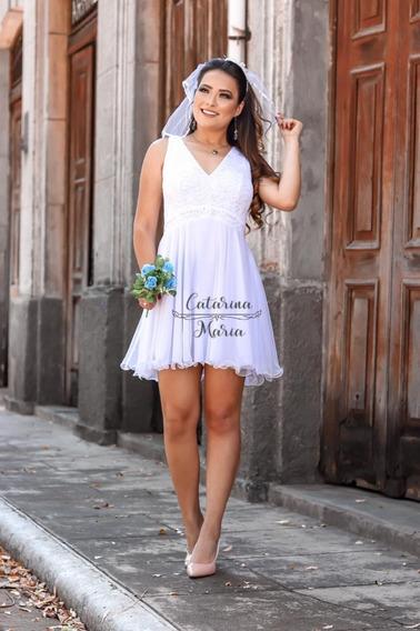 Vestido De Noiva Civil Curto Rodado Com Brilho No Busto