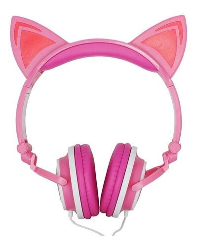 Fone de ouvido on-ear Exbom HF-C22 rosa e branco