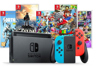 Nintendo Switch 32gb Neon Blue Red Bivolt + Jogo / Game