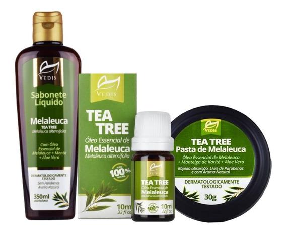 Kit Melaleuca Tea Tree Sabonete Oleo Pasta Para Dermatites