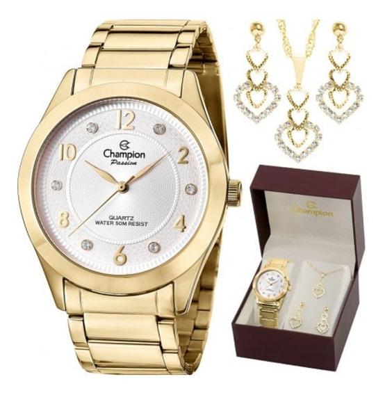 Kit Relógio Champion Dourado Feminino Cn29230d + Semi Jóias