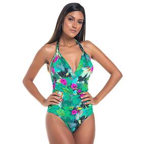 Body Maiô Coqueiro Trituê Digital Bojo Verde Floral