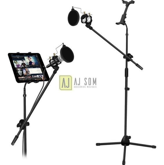 Pedestal Híbrido Microfone+pop Filter+shockmount+sup Tablet