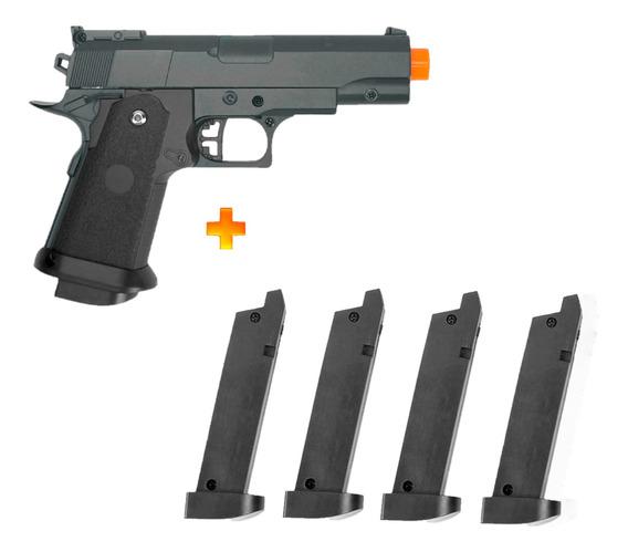 Pistola De Airsoft Spring G10 Modelo 1911 Baby Full Metal 6mm - Galaxy + 4 Carregadores Para Galaxy G10 Full Metal