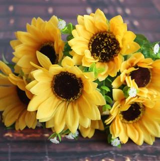 Ramo Girasol Flores Artificiales Girasoles Decoración Flor