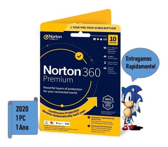 Antivirus Norton 360 Premium 1pc 1 Ano Original Promocional