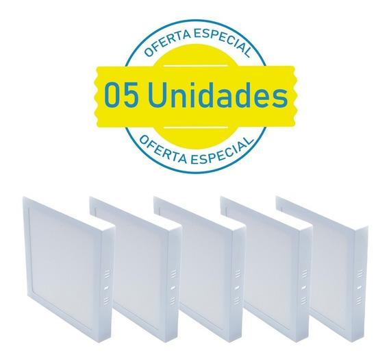 Kit 5 Plafon 18w Quadrado Led Sobrepor Branco Frio Casa