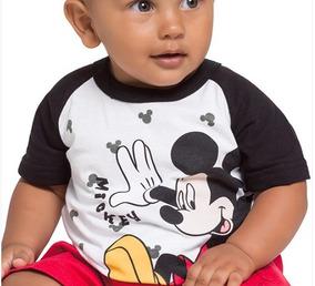 Camiseta Infantil Mickey Preta E Branca Menino Brandili.
