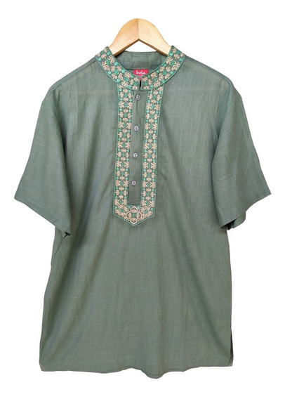 Blusa Camisa Masculina Indiana Boho Hippie Bordada (14078v2)