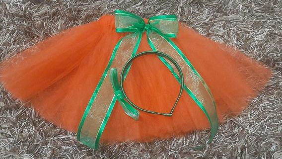 Tutu Faldita Ballet Naranja Calabaza Halloween C/diadema Gde