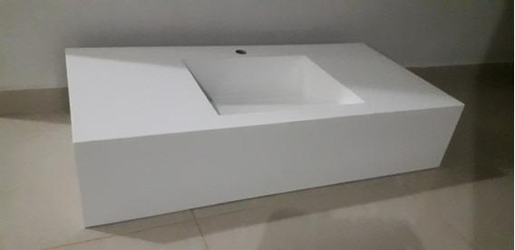 Pia Em Porcelanato Branco Absoluto 80x50