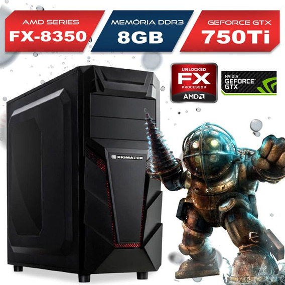 Computador Gamer Amd Fx-8350, 8gb, Gtx 750 Ti, 1tb