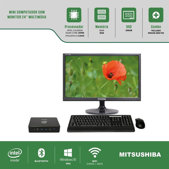 Mini Computador Com Monitor Multi 24 J3455 6g Ssd256g Win