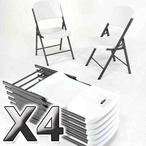 4 Silla Plegable De Plastico Y Acero Para Exterior