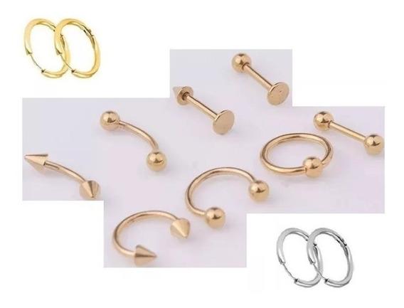 Piercing 8 Peças Aço Inoxidável Em Ouro + Brincos