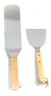 Set X2 Espátulas Planas Acero Con Mango Madera Para Plancha