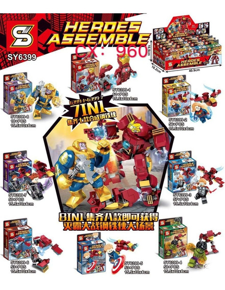 Kit 8 Bonecos Vingadores Homem Ferro Compatível Lego Blocos