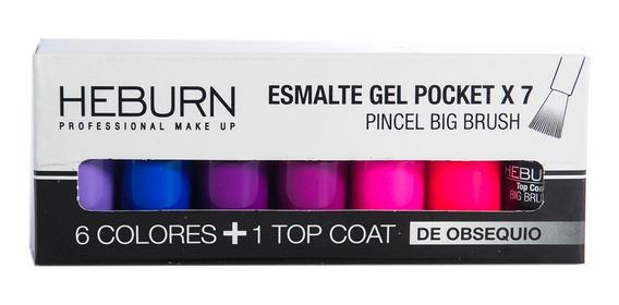 Heburn Set X7 Esmalte Gel Pocket 05 Color Uñas Manicuría