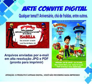 Arte Convite Digital - Qualquer Tema Aniversário.
