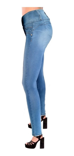 Jeans Stretch De Mujer Corte Colombiano Triple Pinza Push Up Opps Jeans