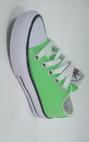 Zapatillas Tipo Converse _ Verde Fluor _ Niñ@s
