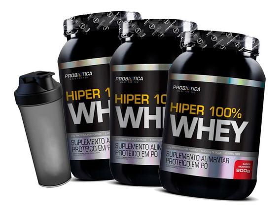 3x 100% Whey Hiper Pure 900g Pote - Probiotica + Brinde