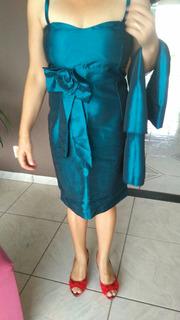 Vestido Feminino De Festa Curto Tafeta Detalhe Cintura