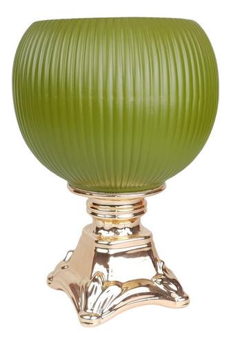 Vaso Verde Com Pé Dourado   30 Larg X 25 Alt X 25 Prof