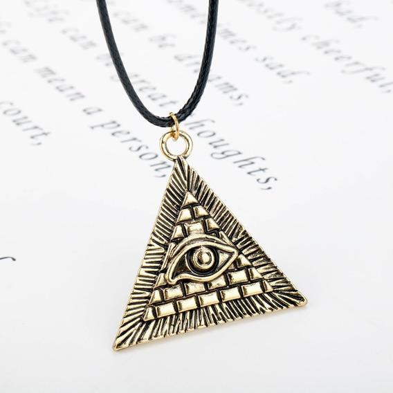 Colar Olho Hórus Iluminati Pirâmed Egípcio Ouro Frete Grátis