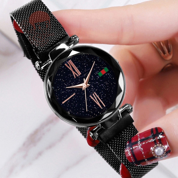 Relógio Magnetico + Brincos + 3 Pulseiras + Bateria Reserva