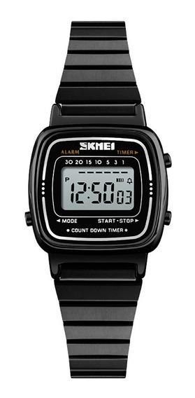 Relógio Skmei 1252 Feminino Luxo Aço Inox Preto Delicado