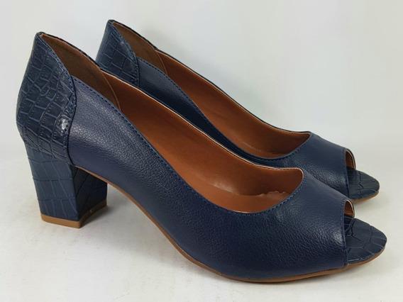 Sandália Peep Toe Azul Marinho