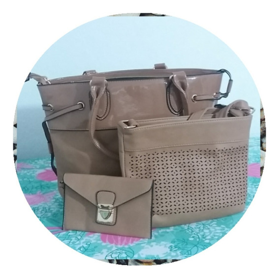 Kit Bolsa Grande+bolsa Pequena+necessaires 3pçs Fotooriginal