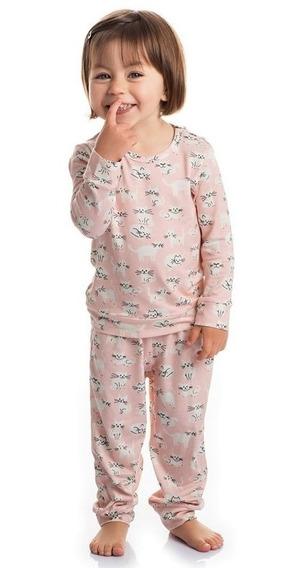 Kit 10 Pijama Com Manga Feminino Infantil Roupa Dormir Bebe