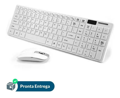 Teclado Branco + Mouse Slim Sem Fio Computador Wireless
