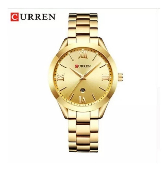 Relógio Feminino A Prova D`agua Dourado & Rosê De Luxo Novo