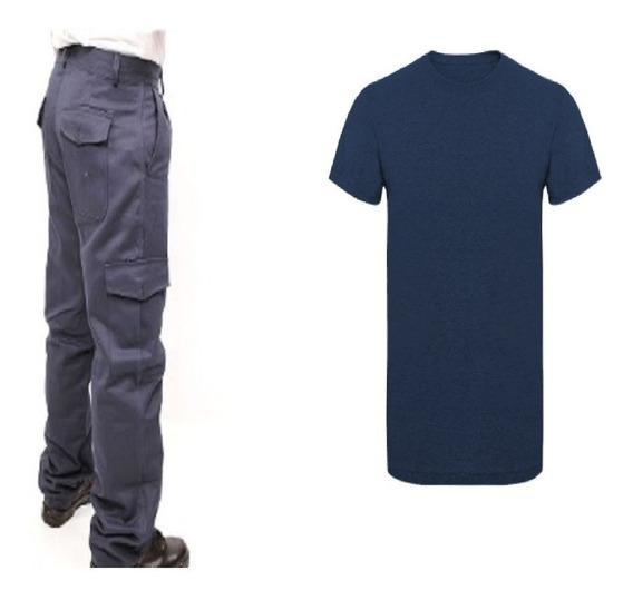Pantalon Cargo Azul Mas Remera Azul