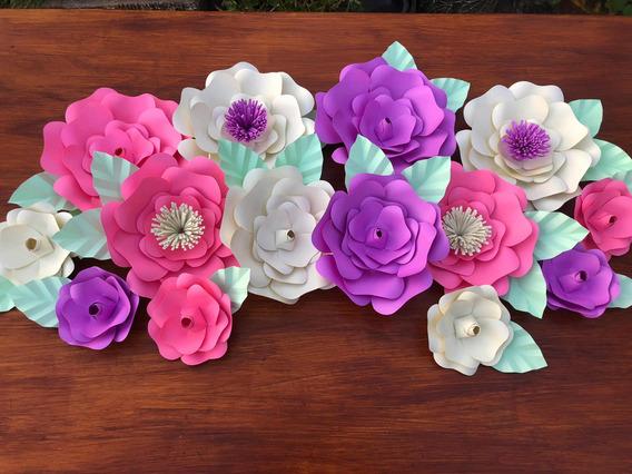 Flores De Papel Kit X 14 Unidades