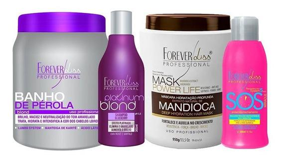 Kit Banho De Pérola, Shampoo Blond, Máscara Mandioca E Sos