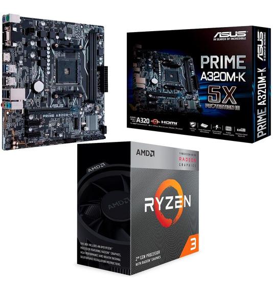 Combo Actualización Amd Ryzen 3 3200g + A320m-k Prime Logg