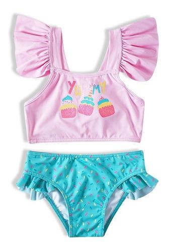 Imagem 1 de 6 de Conjunto Bebe Infantil Biquini Camiseta Praia Proteção Solar
