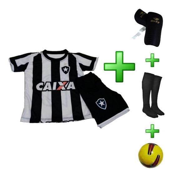 Uniforme Infantil Botafogo + Caneleira + Meião + Bola