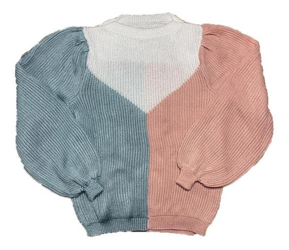 Blusa Manga Longa Tricot Feminina Tricolor