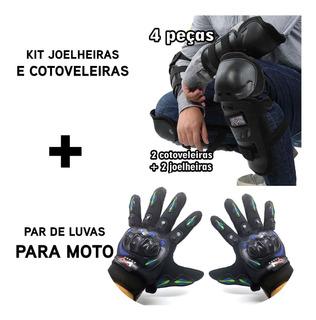 Joelheiras E Cotoveleiras Fox + Luvas Moto Bike Bicicleta