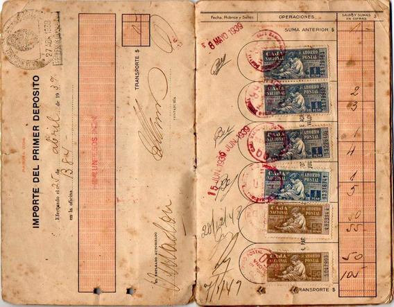 Antigua Libreta De Caja De Ahorro Postal Con 60 Estampillas