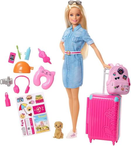 Barbie Viajera Con Cachorro, Equipaje Y Más Accesorios