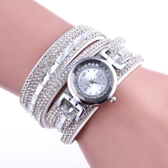 Sc013 Mulher Luxo Cheio Strass Strass Pulseira Relógio Quart