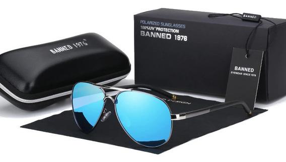 C Gafas Sol Aviador Polarizadas Hd Uv400 Banned Hombre Mujer